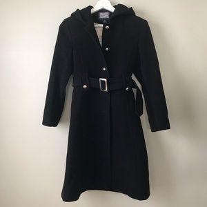 Hooded Wool Blend Coat